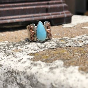 Jewelry - Larimar Two-Tone Sterling Silver Ring Sz 7.5